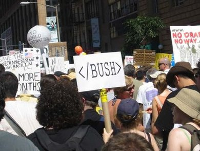Nerds protest against Bush in NYC