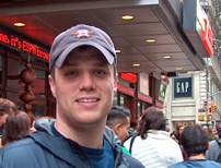 Brian Behrend in front of the ESPN Zone in NYC