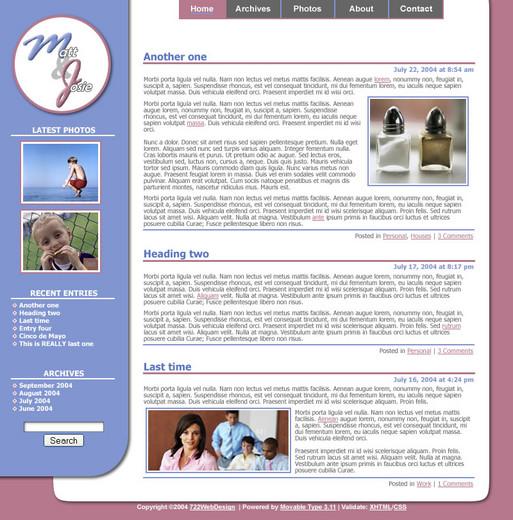 Mock-up of design for mjbehrend.com