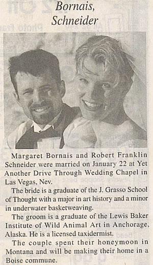Odd wedding announcement
