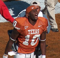 Vince Young celebrates after Texas' victory over Oklahoma